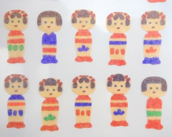 Japanese Kokeshi stickers - washi paper stickers - kokeshi doll stickers - Japanese doll - traditional doll - wooden doll, Japan toy sticker