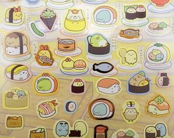 Japanese Sumikko Gurashi Sushi belt restaurant stickers! Kawaii mochi Shiro Kuma bear & neko cat - Penguin - Tokage Suzume - Tonkatsu  bento