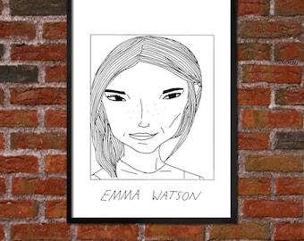 Badly Drawn Emma Watson - Poster