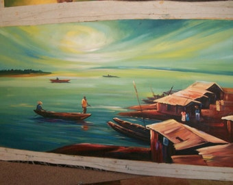 """HoPE oF thE RISING SUN"""" painting oil black African art realism by MONDAY 43 x 22"""