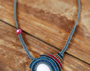 Macrame, Statement Necklace.  Colorful, Asymmetrical Jewelry.