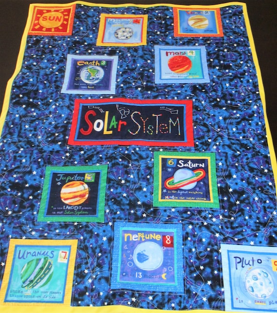 Solar system baby toddler quilt for Solar system fabric panel