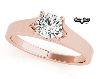 Engagement Ring  1.00 Carat 6.5mm  Solitaire Forever one Round Brilliant Cut  Moissanite  14 kt. Rose Gold #7597