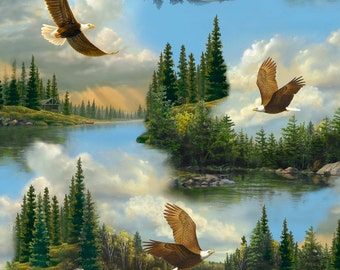 Majestic Eagles fabric. Quilting Treasures. boy nature quilt quilting cotton scenic lake woods 3760
