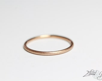 Solid 14k Rose Gold Brushed Stacking Ring, Thin Stacking Ring, Dainty Ring, Thin Ring, Thumb Ring, Midi Ring, Knuckle Ring, Stackable Ring
