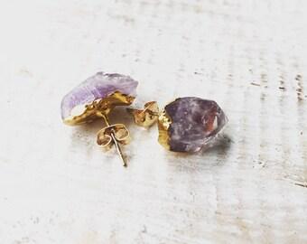 Druzy Amethyst Stud Earrings, Gemstone Earrings, Raw Crystal Earrings, Quartz Earrings, Amethyst Earrings, Purple Gem Earrings, LalaBoho.
