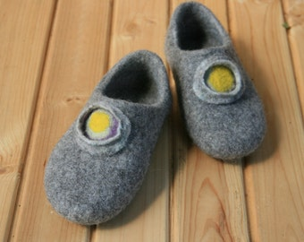 Women slippers Handmade Wool felted slippers Slippers with rubber soles Gray yellow Christmas gift for her