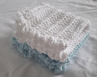 Blue and white crochet dishcoths set