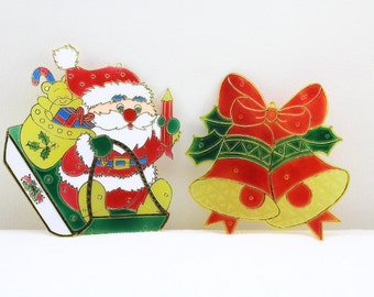 Christmas Decoration Window decorations Santa Claus and bell plastic window decor 80s Vintage Merry Christmas!