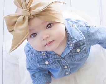 CHAMPAGNE Gorgeous Wrap- headwrap; fabric head wrap; gold head wrap; boho; newborn headband; baby headband; toddler headband