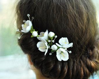 wedding hair piece cherry blossom hair pins Spring flowers hair pin white hair pin wedding hair pin bridal hair pin Cherry blossom jewelry