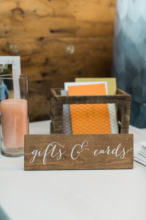 Gifts and cards sign wooden wedding signs wood for Table 6 gift card