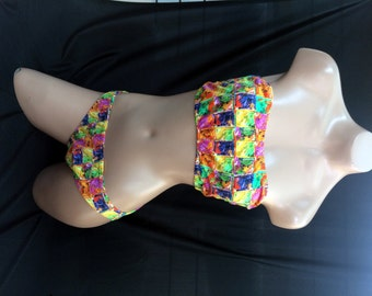 Multicolored Block Print Two Piece Swimsuit (Size M)