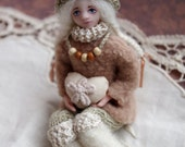Mini doll - handmade tiny doll, poket doll Asya, elf, Valentine's day gifting, winter gift, for love - 3 inch