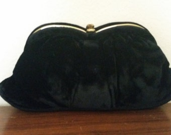 L and M Black Crushed Velvet Clutch