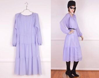 Periwinkle 70s Semi Sheer Dress