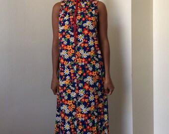 60s 70s Flower Power Hippie Boho Maxi Dress with Drawstring Collar