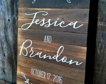 "Reclaimed Rustic Wood Welcome Sign For Weddings or Special Events 18""x24"" // Wedding Decor //  Rustic Wedding"