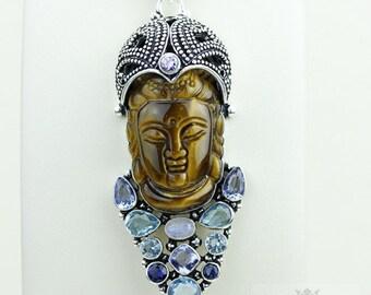 Keeping it Real! Kwan Yin Guanyin BUDDHA Goddess Face Moon Face 925 S0LID Sterling Silver Pendant + 4MM Chain & Free Shipping p3760