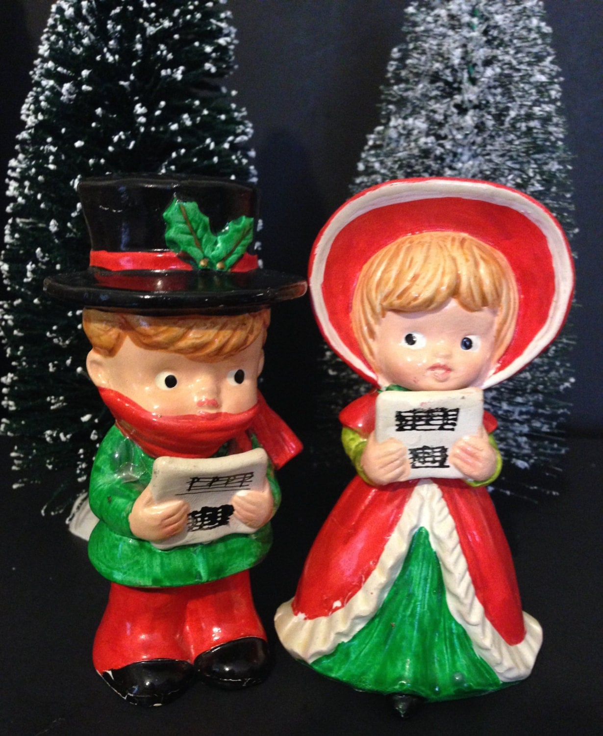 Singing Carolers Candleholders Figurines Vintage By: Ceramic Christmas Caroler Figurines Parma By ThePokeyPoodle