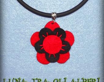 Red felt and black Flower necklace