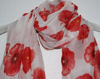 Poppy Scarf, White Poppy Scarf, Poppies, Remembrance Day, 11th November, Womens Gift, Gift For Her, Spring, Summer, Autumn Scarf, Flowers