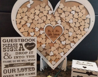 Wedding Guestbook Alternative, Wedding Guest Book, Wedding Shadowbox, unique guestbook, heart drop top box