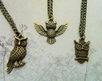 Owl Necklace, Bronze Owl Necklace, Flying Owl, Perched Owl, Animal Jewellery, Nature Gift, Teacher Gift, Wisdom, Bronze Jewelry, Woodland