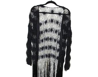 Vintage Black Fringe Lace Sheer Kimono