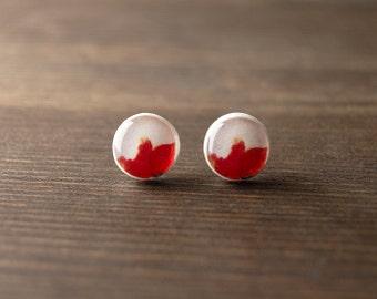 Poppy stud earrings - spring - red white earrings - summer - flower earrings