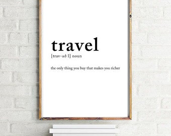 Travel definition poster, Travel posters, Wall decor, Wall art prints, Travel art 70x100, 50x70, A4, 24x36""