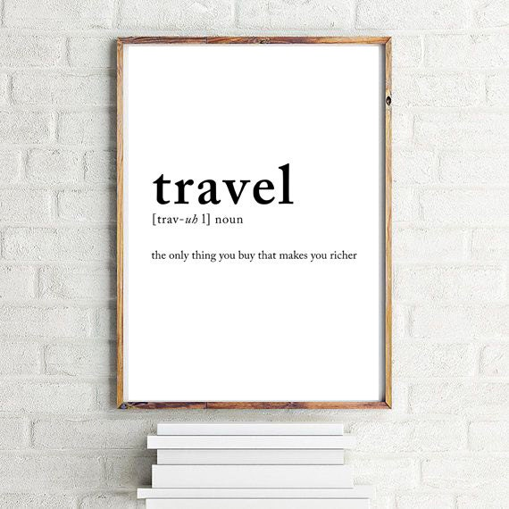 travel definition poster travel posters wall decor wall art. Black Bedroom Furniture Sets. Home Design Ideas