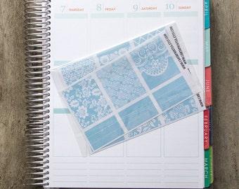9 full box sticker, pink lace square sticker, planner stickers, scrapbook reminder, geometric floral blue eclp filofax happy planner