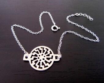 Black sun anklet |Sun Wheel anklet |Sonnenrad anklet |Pagan symbol |beach anklet |925 sterling silver anklet |foot jewelry |ankle bracelet