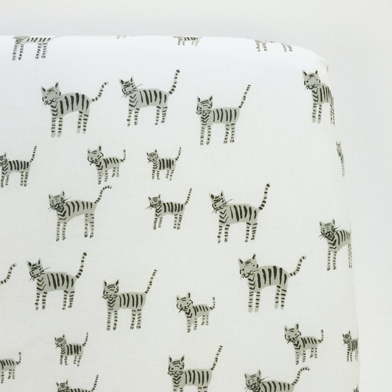 Crib Sheet >> Black and White Tigers in White >> Fitted Cot Sheet Baby Crib Toddler Bedding Black Grey Animal cat Woodland gender neutral