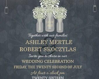 Mason Jar Wedding Invitation, Babies Breath Wedding Invitation, Country Wedding Invitation