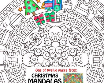 Christmas mandala coloring page adult coloring book
