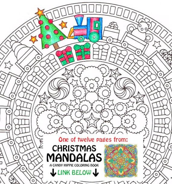 christmas mandala coloring page christmas morning printable christmas coloring page adult coloring pages santa festive toys