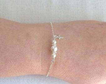 Sterling Silver Cross Bracelet, Baptism Bracelet, Baby Christening Bracelet, First Communion Gift, Confirmation Gift