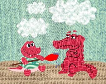 Alligator Clip Art - Textile Crocodile Clip Art, Cotton Textile, Burlap Textile, Cotton Clip Art, Gator Clip Art, Clip Art Crocodile, Snake