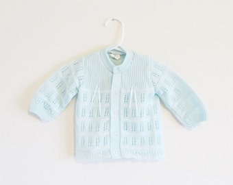 Vintage 1960's Pastel Mint Green Baby Sweater / Children's Virgin Acrylic Knit Infant Cardigan / Size 3-6 Mos