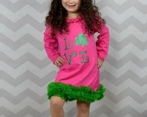 St. Patrick's Day Hot Pink/Green LOVE Clover Chiffon Ruffle Long Sleeve Boutique Style Dress - Photo Prop