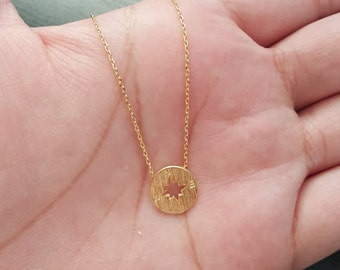 Fashion Compass Yellow Gold Tone and Silver Tone Necklace