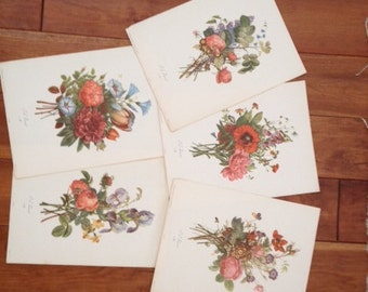 Set of 5 J.L. Prevost Flower Prints