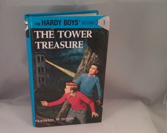 The Tower Treasure Mystery The Hardy Boys, Franklin W Dixon Hardy Boys, hardback Hardy Boys mystery book, Vintage Hardy Boys, blue book