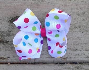 Large 5' Polka Dot/Multicolor Boutique Bow