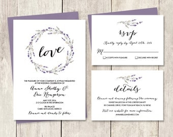 Floral Wedding Invitation Suite / Rustic Lavender Wreath Flower, Twig / Invite Set ▷ Printed Wedding Invitations {or} Printable