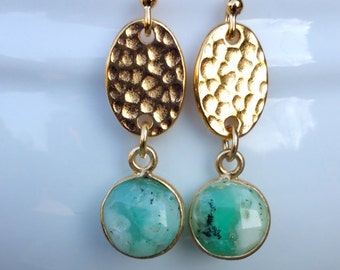 Chrysoprase Gold Vermeil Earrings
