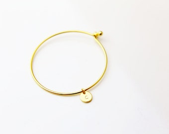 Monogram Initial Bangle / Personalized Bracelet / Simple Gold Mini Disc Bangle