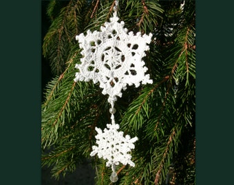 Crochet Christmas decorations Crochet double snowflake with beads Christmas tree ornament Winter Christmas decor New year Crochet snowflake